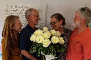 Steve Harper, Dorothy Charles, Christine Price, Steve Waldrip – Tribal Ground Circle Open House. Roses compliments of John Callahan.